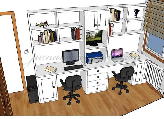 Jumar decoraci n dormitorio juvenil con literas for Escritorios dobles juveniles