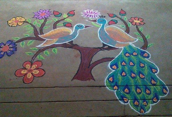 Rangoli design peacock diwali kolam
