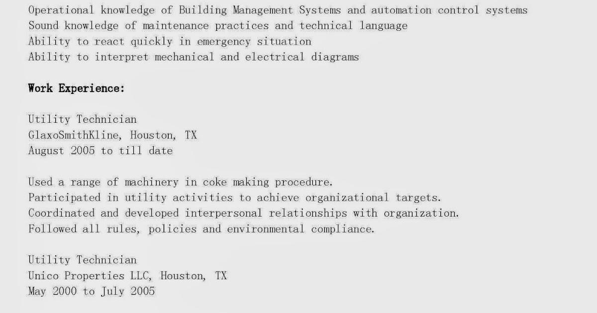 resume sles utility technician resume sle