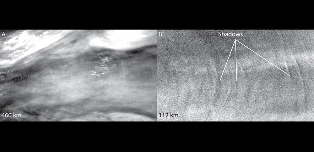 (Left) This pattern of light and dark stripes in Jupiter's atmosphere likely extended all the way around the planet. NASA scientists think it indicated the first Kelvin wave to be spotted on that planet. (Right) The pattern may be high enough to cast shadows on other clouds. Credits: NASA/JHU-APL/SWRI