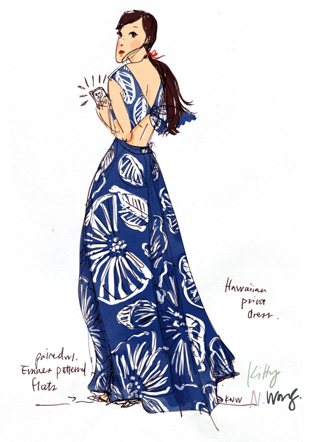 Kitty N. Wong / Hawaiian Print Girl fashion illustration