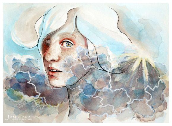 Jana Lepejova jane-beata deviantart pinturas aquarela mulheres olhares femininos Nublado
