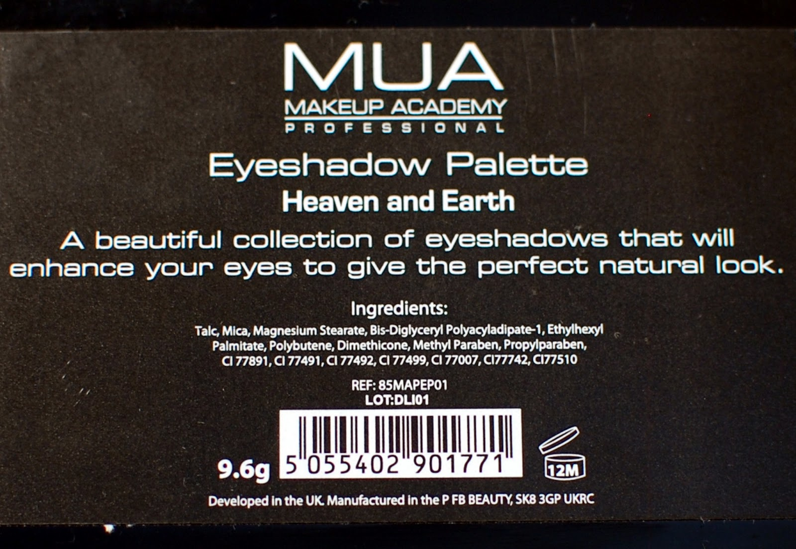 MUA Heaven and earth palette ingredients
