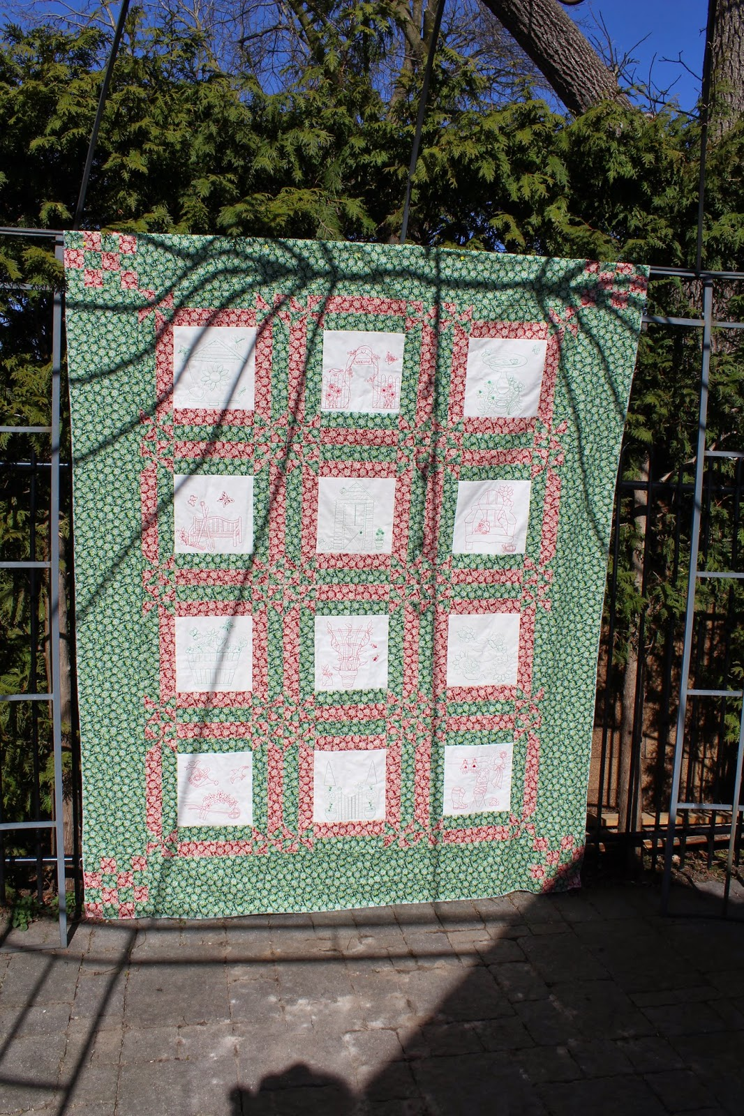 Kyrotime cottage potting shed quilt spring for Garden shed quilting