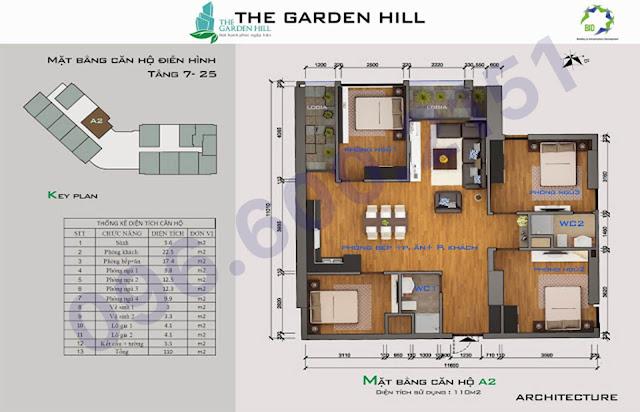 Căn A2 110m2 garden hill - 99 trần bình