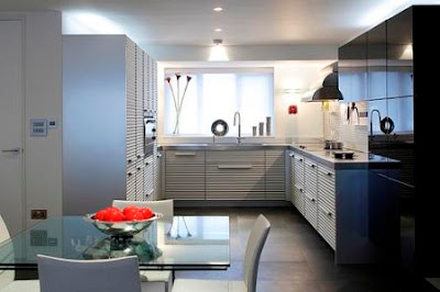 contemporary kitchen in white and blue-work triangle