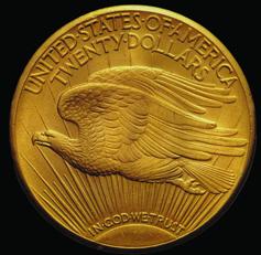 """La moneda, conocida como """"double eagle"""" (valía el doble de la """"eagle"""" de 10 dólares)"""
