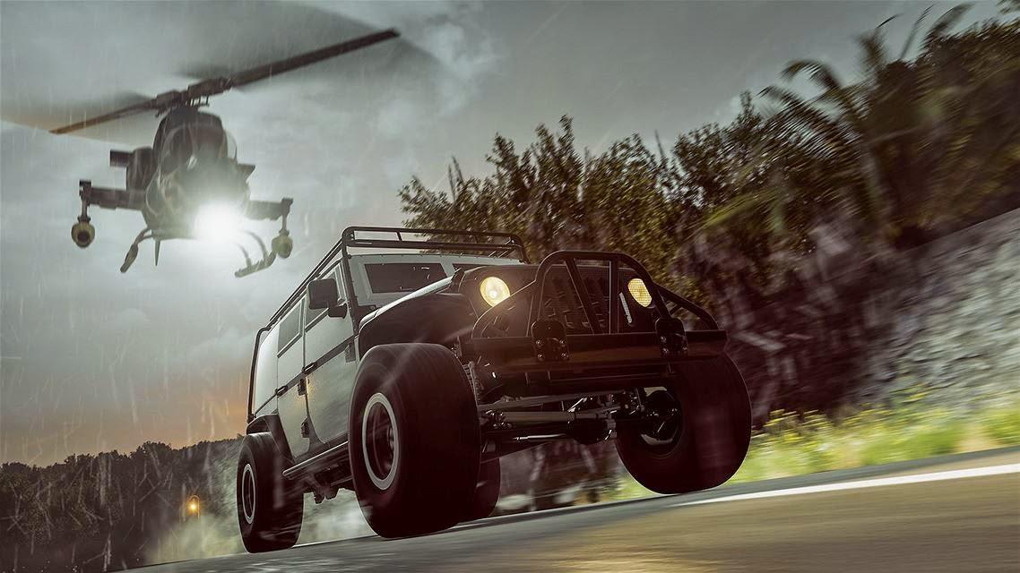 image du jeu fast and furious forza horizon 2 représentant la jeep wrangler courant contre un helicoptère de combat