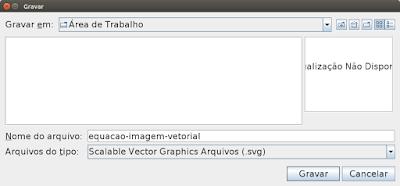 Escolha o nome do arquivo e o tipo de arquivo: Scalable Vector Graphics Arquivos (.svg). Em seguida clique em Gravar.