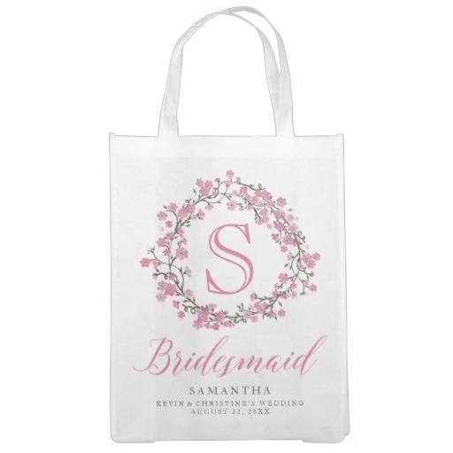 Personalized Floral Wreath Monogram Bridesmaid Tote Bag