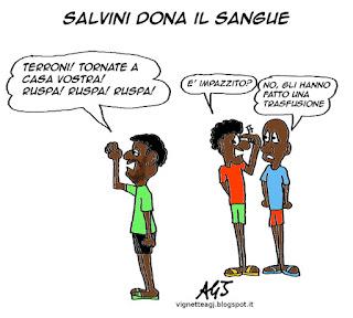 Salvini donatori del sangue avis satira vignetta