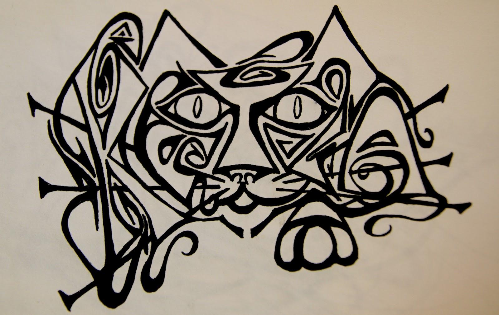 Hidden Name Ink Drawings