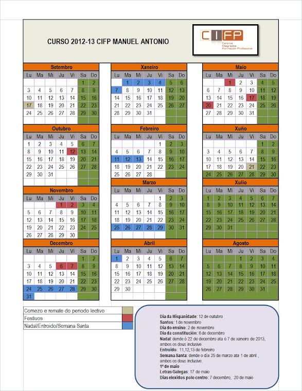 Calendario curso escolar 2012-13