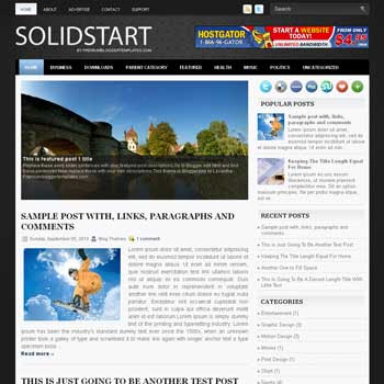 SolidStart blog template. magazine blogger template style. magazine style template blogspot