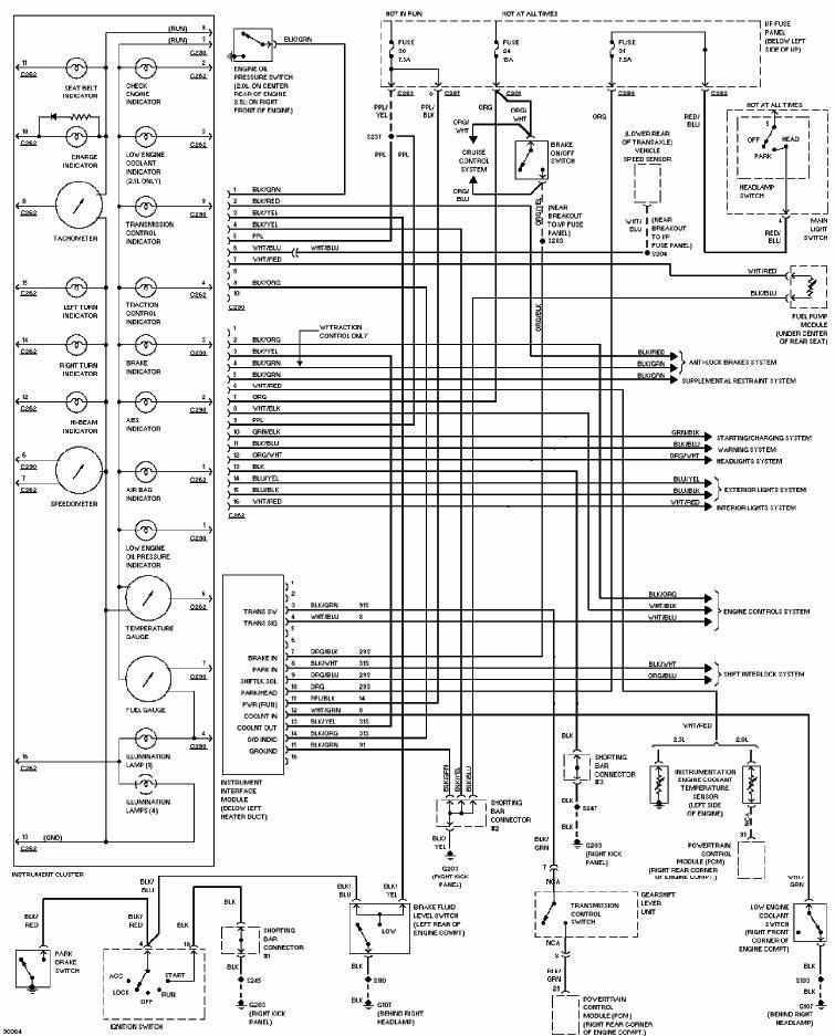 Ford Contour 1997 Instrument Cluster Wiring Diagram