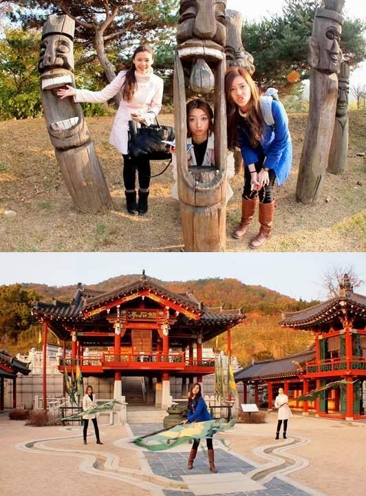 新罗千年公园里多个景点都让三位美姐玩得不亦乐乎,同时也增长了许多有关韩国新罗时期的历史知识