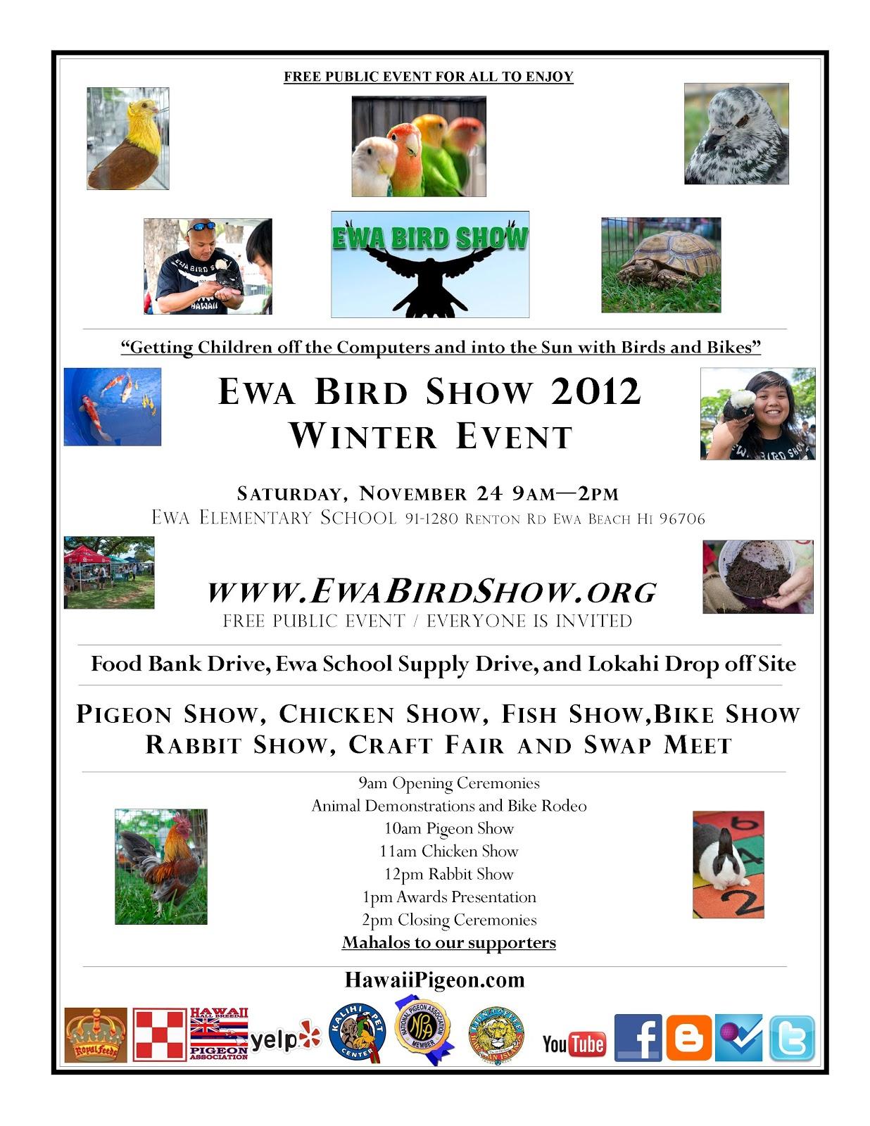 Ewa bird show flyer for Waimanalo feed supply
