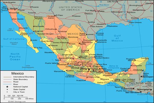 Colorido E Informativo Mapa De La República Mexicana Mapa De La