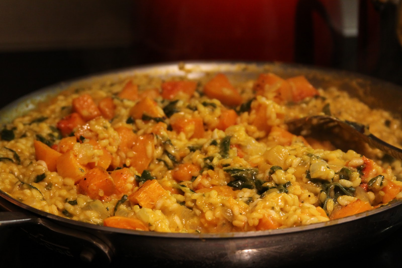 Butternut squash risotto with winter greens :: Plate and Pour