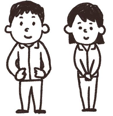 ジャージを着た中学生・高校生のイラスト 白黒線画