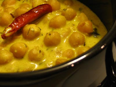 Tender Chickpeas in Golden Karhi Sauce