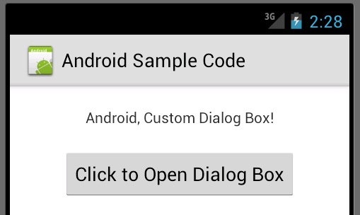 Android Custom Dialog Box Example