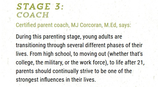 Stage 3 is the Coaching Phase for chldren ages 14-21