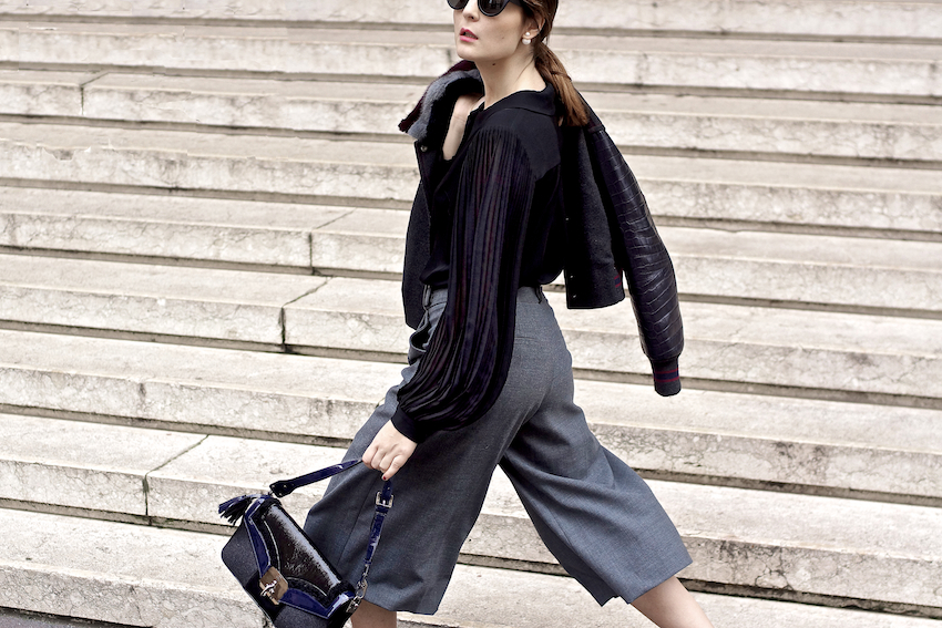 irene buffa fashion blogger milano , How to wear culottes trousers fashion blogger outfit idea , wearing fay brand
