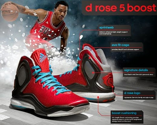 By looking at the D Rose 5 info-graphic, you can tell how much work adidas  and Derrick Rose put in in designing the ultimate basketball shoe.