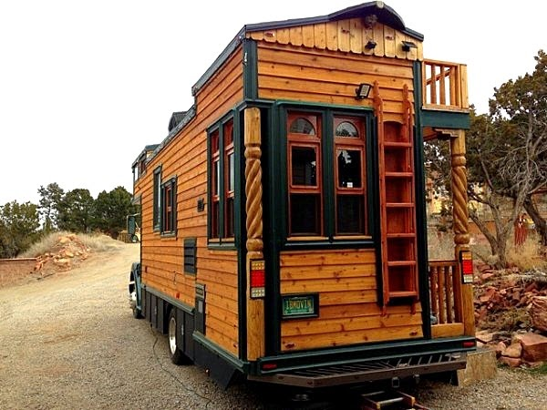 The flying tortoise michael ostaski 39 s latest beautiful traditionally styled wooden house on - The house on four wheels ...