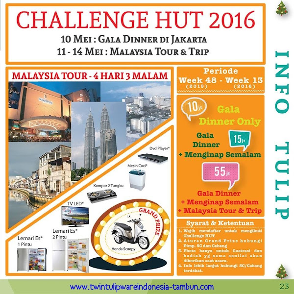 Info : Challenge HUT Tulipware 2016