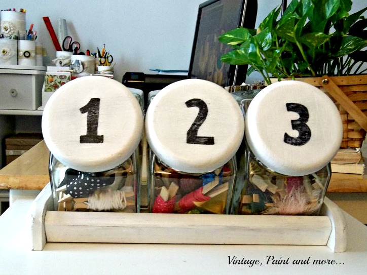 Vintage, Paint and more... vintage canister turned ribbon storage, chalk paint, organization