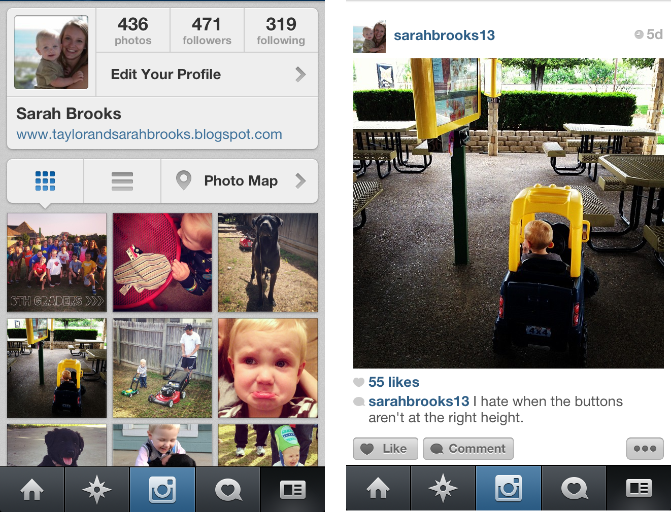 An example left is my instagram profile right is the photo feed of