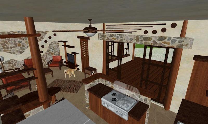 diseño interior casa cabaña rústica con madera y piedra natural living, cocina y barra