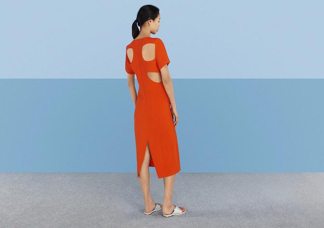 orange cutout back dress