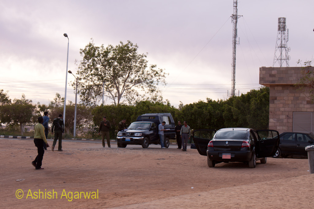 Security officers and tourists at the Abu Simbel temple in South Egypt