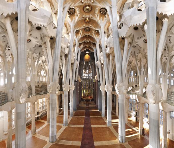 Antoni Gaud, Interior of La Sagrada Famlia, 1882-1926. Courtesy of La  Sagrada Famlia online.