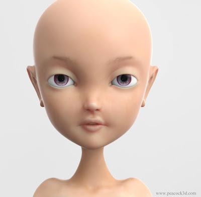 ZBrush Girl Bust Keyshot Render SSS Skin Material