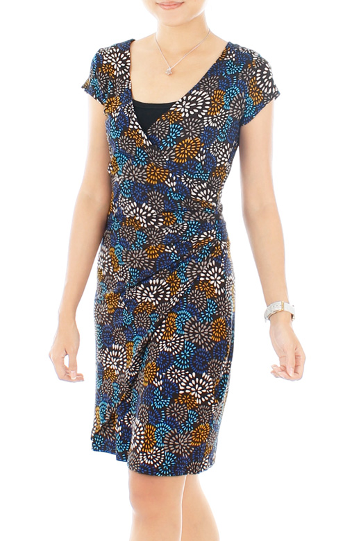 Blue Fireworks Joy Wrap Dress
