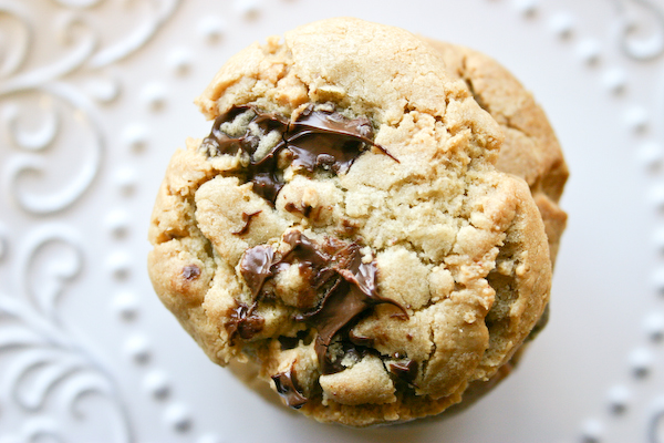 Brown Butter-Peanut Butter Truffle Chocolate Chip Cookies.