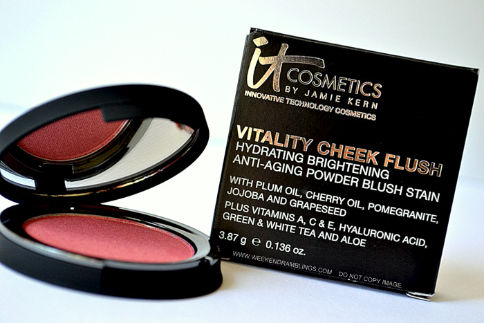It Cosmetics Cheek Vitality Flush Powder Blush Stain - Pretty in Peony - Photos Review swatches FOTD Ingredients
