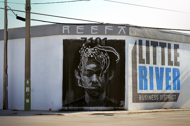 """Tribute To Reefa"" Street Art By Axel Void In Miami USA. day view"