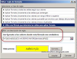 Una matricial para un Formato condicional de Excel