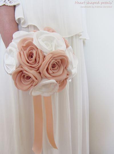 bouquet de noiva rosas em tecido