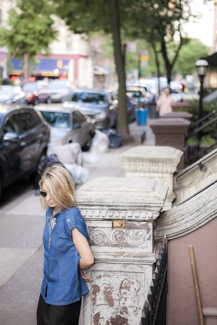 Oversized clothes, denim & black, Zara chambray denim top, Tibi bermudas, Upper West side, New York City, summer evenings