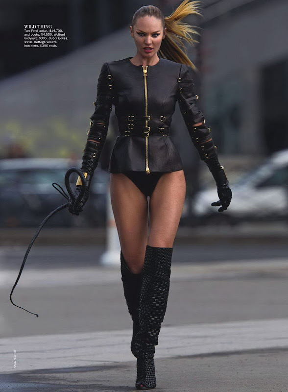 Candice Swanepoel -hot in a black bodysuit and knee high boots