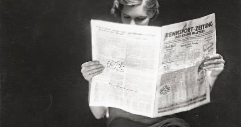 Vintage Everyday A Lady Reading Newspaper 1932