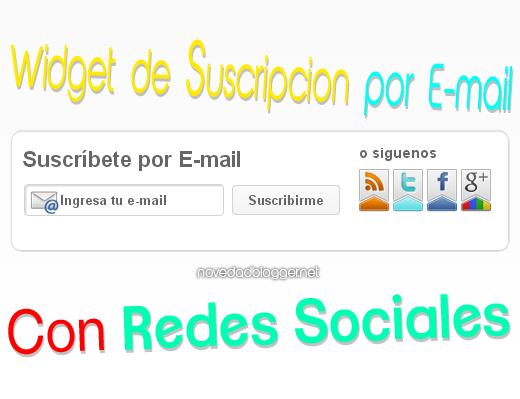 Suscripción por e-mail Redes Sociales