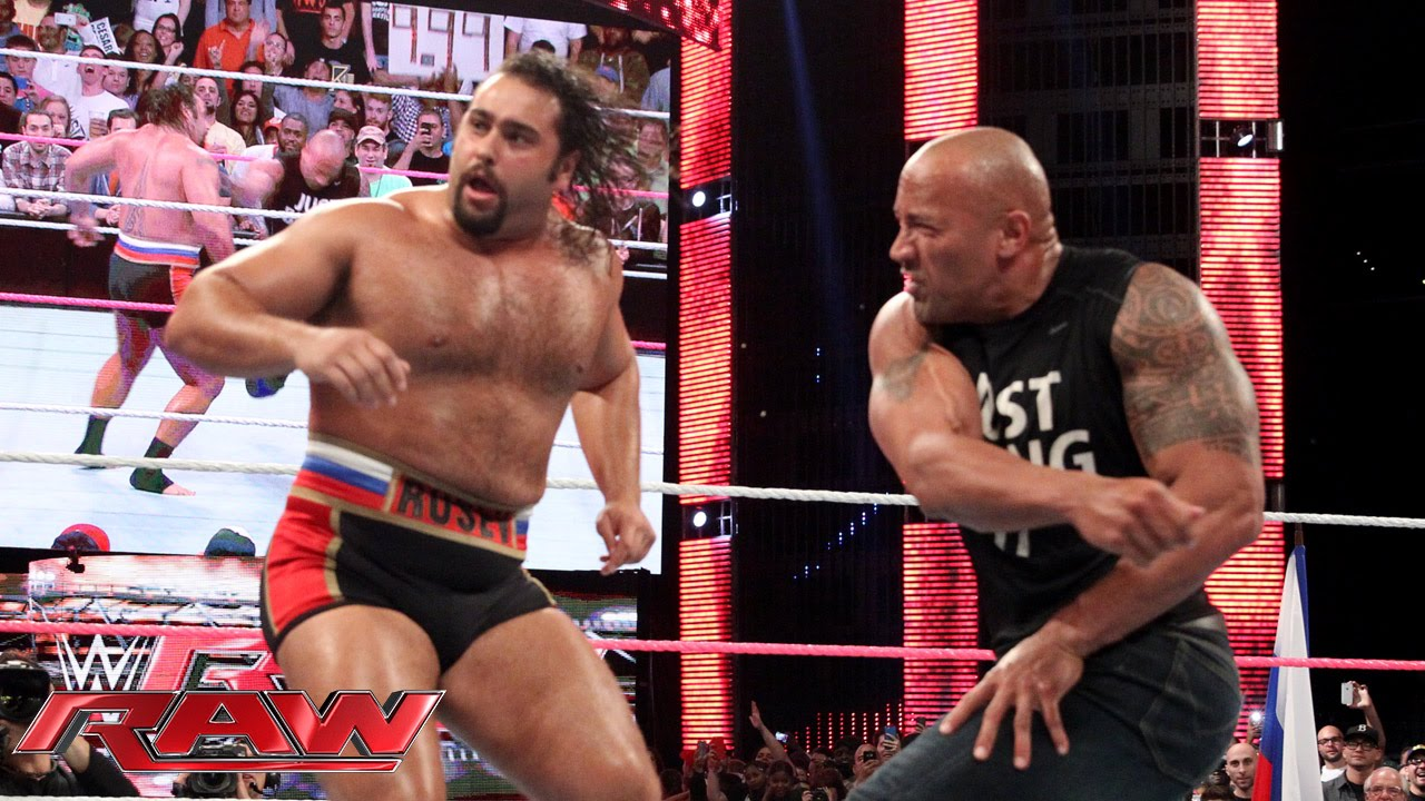 Dwayne Johnson Raw Return 2014 Rusev Lana