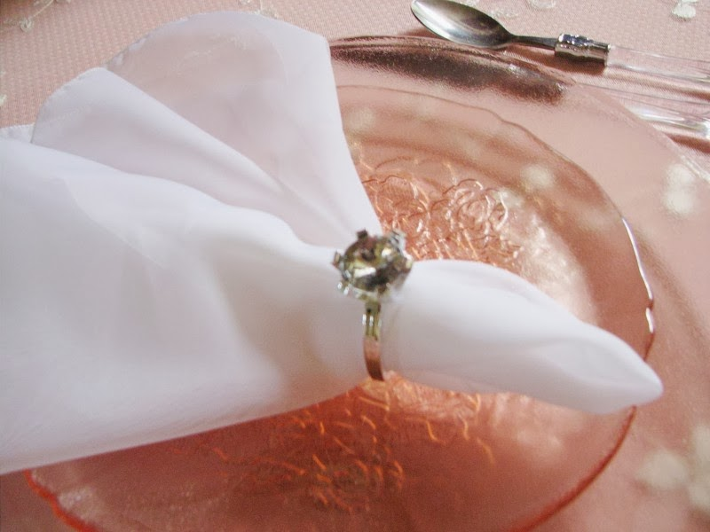The delicate white lace tablecloth is layered over a pink tablecloth. The clear plastic handled flatware is from Ross several years ago. & Yellow Rose Arbor: February 2014